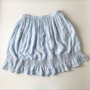 Abercrombie & Stitch Light Blue Floral Print Skirt